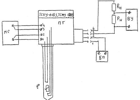 Основная погрешность термопреобразователя. измерительная катушка сопротивления; ВУ - вольтметр универсальный